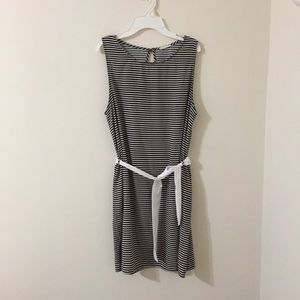 Evenly striped boat dress